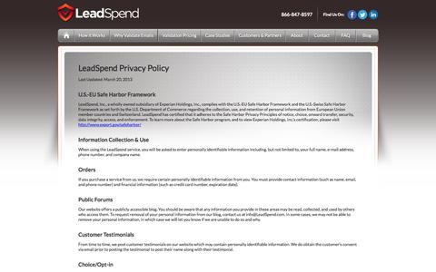 Screenshot of Privacy Page leadspend.com - LeadSpend | Terms and Conditions - captured June 17, 2015