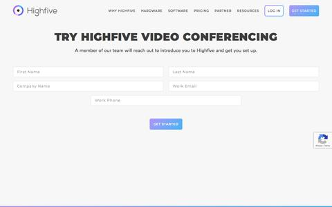 Screenshot of Trial Page highfive.com - Video Conferencing Trial - Highfive - captured Oct. 9, 2019