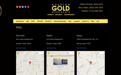 Screenshot of Maps & Directions Page houstongoldmerchants.com - Houston Gold Merchants | Directions and Map to sell gold and silver - captured Sept. 30, 2014