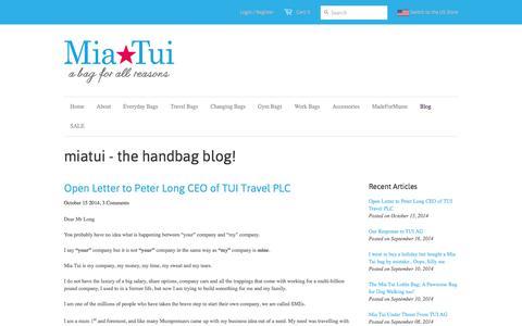 Screenshot of Blog miatui.com - miatui - the handbag blog! - Miatui - MiaTui - handbags, travel bags and changing bags - captured Oct. 27, 2014