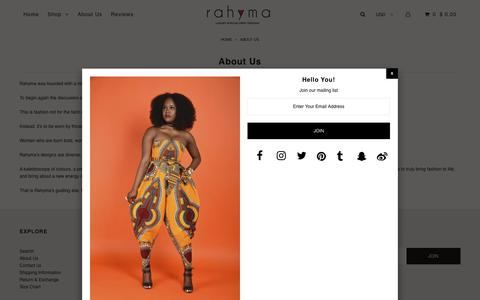 Screenshot of About Page rahyma.com - About Us – Rahyma - captured June 12, 2018