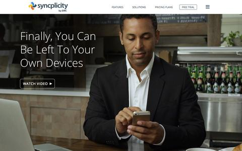 Screenshot of Home Page syncplicity.com - Leader in Enterprise File Sync & Sharing | Syncplicity - captured Jan. 15, 2015