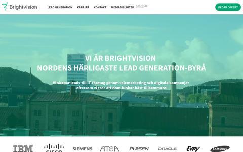 Screenshot of Home Page brightvision.se - Lead Generation för IT-bolag i hela Norden - telemarketing och digitalt - captured Nov. 23, 2016