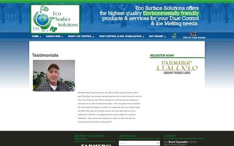 Screenshot of Testimonials Page ecosurfacesolutions.com - Testimonials   Eco Surface Solutions - captured Sept. 29, 2014