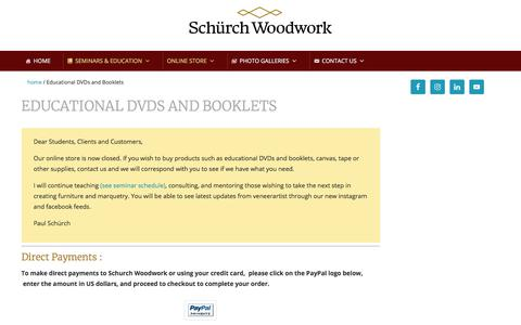 Screenshot of Products Page schurchwoodwork.com - All Products - Tools, Supplies and Training - Schürch Woodwork - captured Aug. 2, 2019