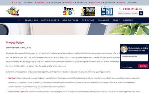 Screenshot of Privacy Page americachoicerv.com - Privacy Policy - America Choice RV - captured Sept. 26, 2017