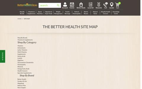 Screenshot of Site Map Page thebetterhealthstore.com - Site Map - captured Aug. 14, 2016