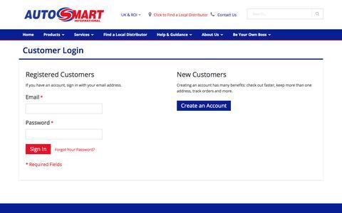 Screenshot of Login Page autosmart.co.uk - Customer Login - captured July 11, 2017