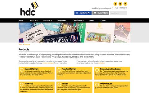 Screenshot of Products Page thehomeworkdiary.co.uk - Wide range of bespoke printed education products available from hdc - captured Oct. 3, 2014