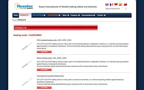 Screenshot of Products Page flexelec.com - Heating Element, Trace Heating, Heating Tape - Flexelec Products - captured Sept. 30, 2014