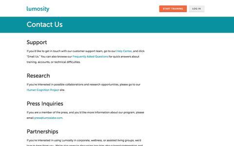 Screenshot of Contact Page lumosity.com - Lumosity - Contact Information - Lumosity - captured Oct. 12, 2017