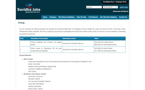 Screenshot of Pricing Page suvidhajobs.com - EPC, Oil and Gas Jobs | Gas and Oil Recruitment | Offshore Jobs | Oil Rig Industry Jobs, Construction jobs - captured Oct. 3, 2014