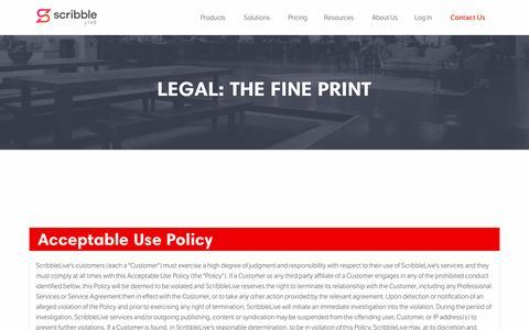 Screenshot of Support Page Terms Page scribblelive.com - Legal - ScribbleLive - captured Nov. 17, 2016
