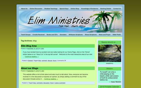 Screenshot of Blog elim.co.za - blog | Elim Ministries - captured Nov. 10, 2018