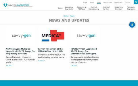 Screenshot of Press Page savyondiagnostics.com - News Archives - Savyon Diagnostics - captured July 28, 2018