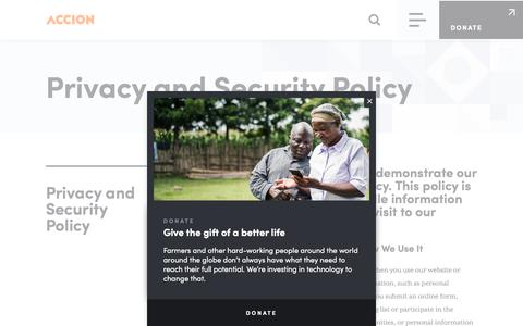 Screenshot of Privacy Page accion.org - Privacy and Security Policy | Accion - captured Dec. 17, 2019