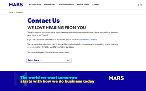 Screenshot of Contact Page mars.com - Contact Us | Mars, Incorporated - captured Sept. 12, 2019