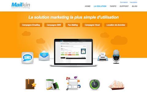 Screenshot of Services Page mailkin.com - La solution marketing la plus simple d'utilisation - captured March 2, 2016