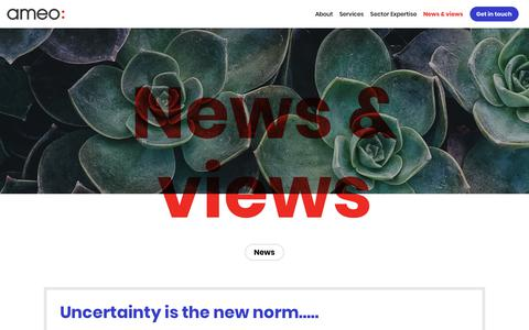 Screenshot of Press Page ameogroup.com - Ameo: We deliver change | Uncertainty is the new norm….. - captured Oct. 8, 2017