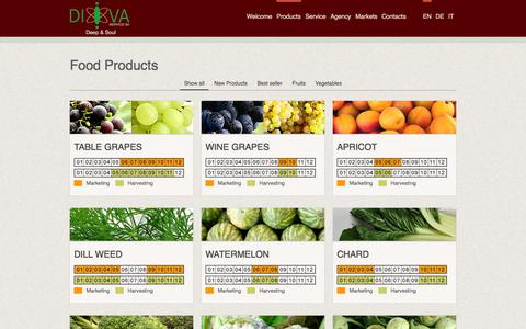 Screenshot of Products Page divaservice.com - Food products, wholesale - Bisceglie IT | Di.Va. Service - captured Oct. 27, 2014