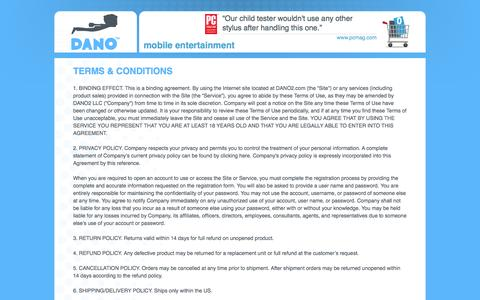 Screenshot of Terms Page dano2.com - Terms & Conditions   - captured Oct. 5, 2014