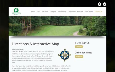 Screenshot of Maps & Directions Page whisperingpinesgc.com - Directions & Map - captured Sept. 30, 2014