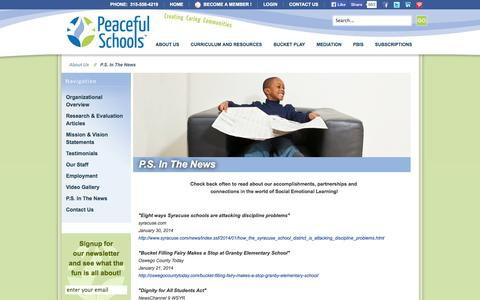 Screenshot of Press Page peacefulschools.com - Peaceful Schools :: P.S. In The News - captured Sept. 29, 2014