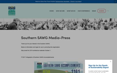 Screenshot of Press Page ssawg.org - Media-Press — Southern Sustainable Agriculture Working Group - captured Oct. 18, 2018