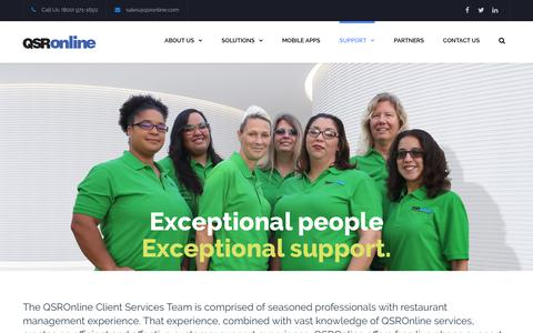 Screenshot of Support Page qsronline.com - SUPPORT | QSROnline - Restaurant Management Software - captured Sept. 24, 2018