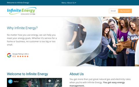 Screenshot of About Page infiniteenergy.com - Who is Infinite Energy? - Mission Statement | Infinite Energy - captured Nov. 10, 2019