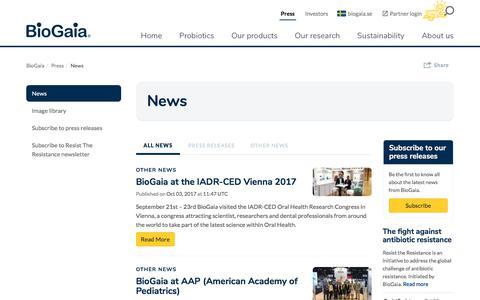 Screenshot of Press Page biogaia.com - Biogaia Probiotics - News - captured Oct. 10, 2017