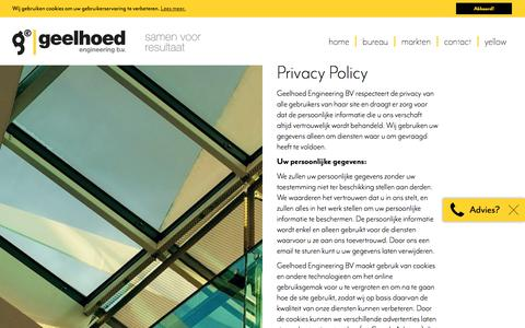 Screenshot of Privacy Page geelhoed.com - Privacy Policy | Geelhoed engineering bv - captured July 21, 2017