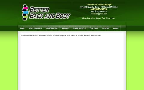 Screenshot of Maps & Directions Page betterbackandbody.com - Kirkland Chiropractic Care - Better Back and Body in Juanita Village - 9716 NE Juanita Dr, Kirkland, WA 98034 (425) 823-5333 - captured Feb. 12, 2016