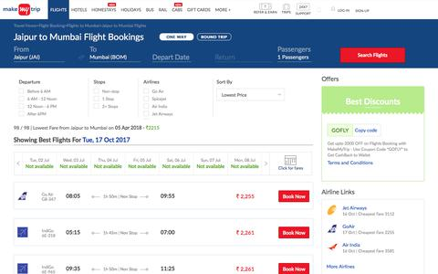 98 Flights Jaipur to Mumbai Fares @Rs.2215+ 2000 OFF (upto)