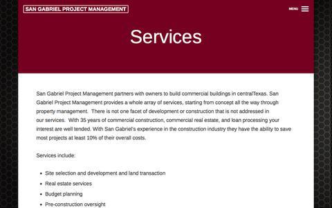 Screenshot of Services Page sgmanage.com - Services | San Gabriel Project Management - captured Oct. 4, 2014