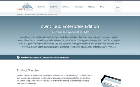 Screenshot of Products Page owncloud.com - Enterprise Edition - File Sync and File Sharing - captured Sept. 17, 2014