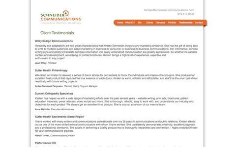 Screenshot of Testimonials Page schneider-communications.com - Client Testimonials | Welcome to Schneider Communications - captured Sept. 30, 2014