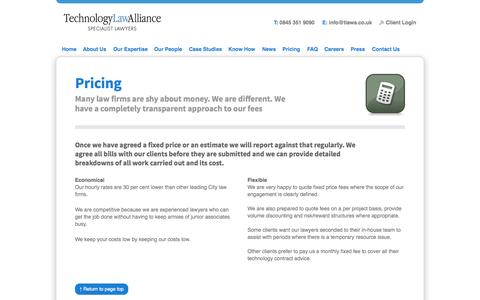 Screenshot of Pricing Page technologylawalliance.co.uk - Pricing at       Technology Law Alliance: IT Law, E-commerce Law & Outsourcing Law Specialists - captured Oct. 1, 2014