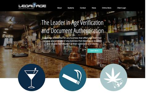 Screenshot of Home Page legalagesoftware.com - Legal Age Security Systems - captured Jan. 27, 2016