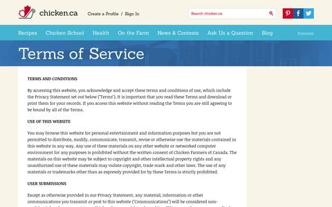 Screenshot of Terms Page chicken.ca - Terms of Service » Chicken.ca - captured Sept. 19, 2014