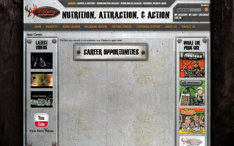 Screenshot of Jobs Page wildgameinnovations.com - Careers - captured Sept. 24, 2014