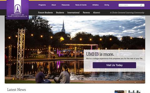 Screenshot of Home Page umhb.edu - Christian University, Christian College Scholarship, Nursing Degree - captured Jan. 28, 2016