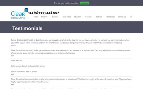 Screenshot of Testimonials Page clear-computing.co.uk - Testimonials - IT Support, IT Security, Schools IT, IT Solutions Sussex | Clear-Computing.co.uk - captured Sept. 28, 2018