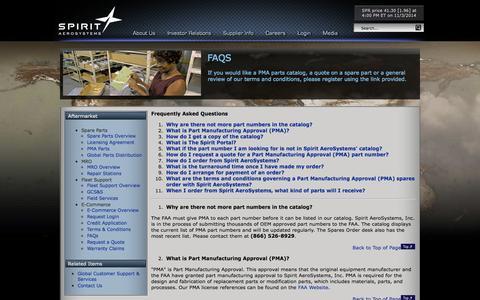 Screenshot of FAQ Page spiritaero.com - Spirit AeroSystems - FAQs - captured Nov. 4, 2014