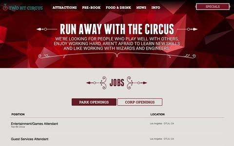 Screenshot of Jobs Page twobitcircus.com - Jobs | Twobitcircus - captured Nov. 7, 2018