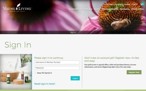 Screenshot of Login Page youngliving.com - Virtual Office - captured April 28, 2017