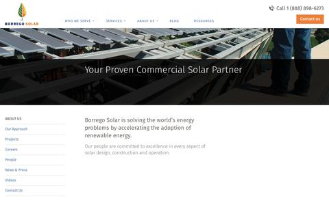 Screenshot of About Page borregosolar.com - About the Company | Borrego Solar for Commercial Systems - captured Sept. 20, 2016