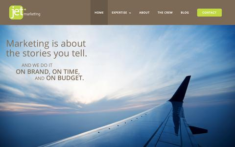 Screenshot of Home Page jetmarketing.net - Full-Service Marketing Agency: Branding, Healthcare, Education, Video and More! - captured Oct. 13, 2018