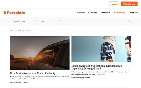 Screenshot of Case Studies Page percolate.com - Case Studies Archives | Content Marketing Resources + Insights | Percolate - captured Feb. 11, 2019