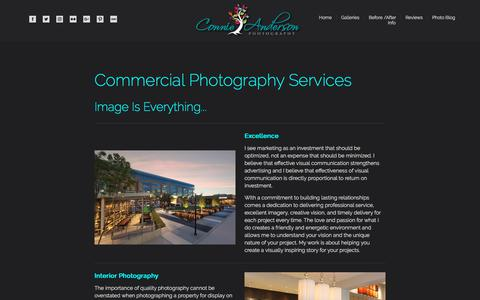 Screenshot of Services Page connieandersonphotography.com - Photography Services in Houston - Connie Anderson Photography - captured July 20, 2018